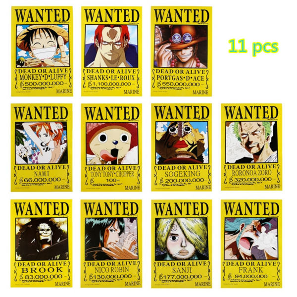 11 pcs/set ONE PIECE poster Anime OP wanted Luffy Roux Ace Nami Chopper Zoro Brook Robin Sanji posters 42x29cm free shipping image