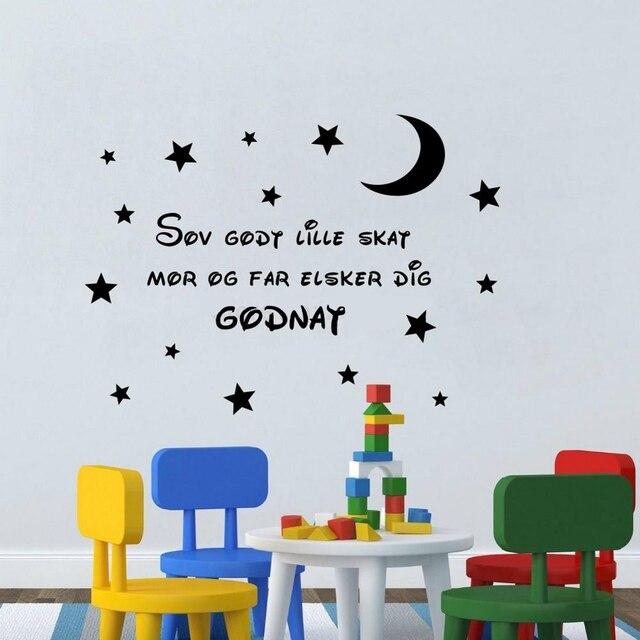 4343563ac1879 Citations danoises Art pour enfants chambres décoration Sticker mural dors  bien chérie maman et papa t