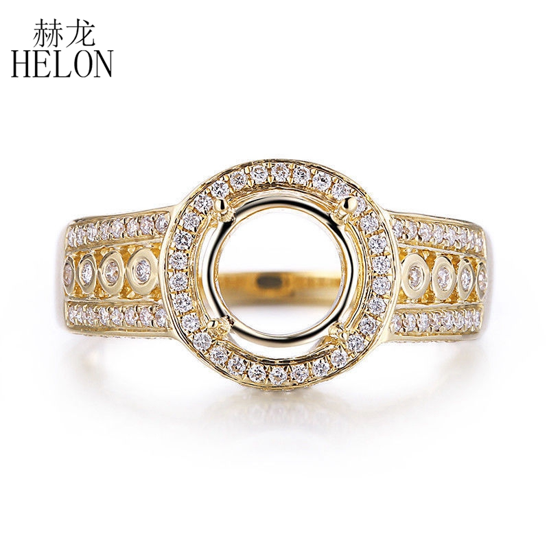 HELON 10K Yellow Gold Round 6.25-7.5mm Pave Natural Diamond Semi Mount Engagement Wedding Women Gift Ring Fine Jewelry Setting helon cubic zirconia cz solid 10k yellow gold pave prongs setting wedding ring engagement rings for women