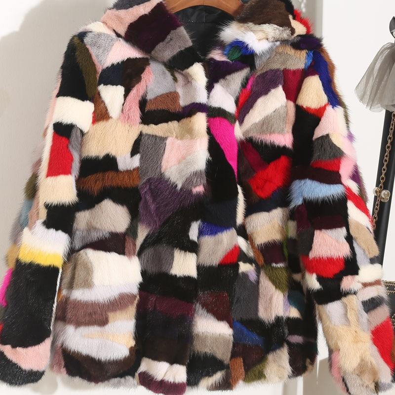 Fourrure Vison D'hiver Full Couleur Hooded 2 Naturel Manteaux 3 De Et 1 L'automne Manches Femmes Vestes Chaud Pour Réel Contraste Iwanfqa8t