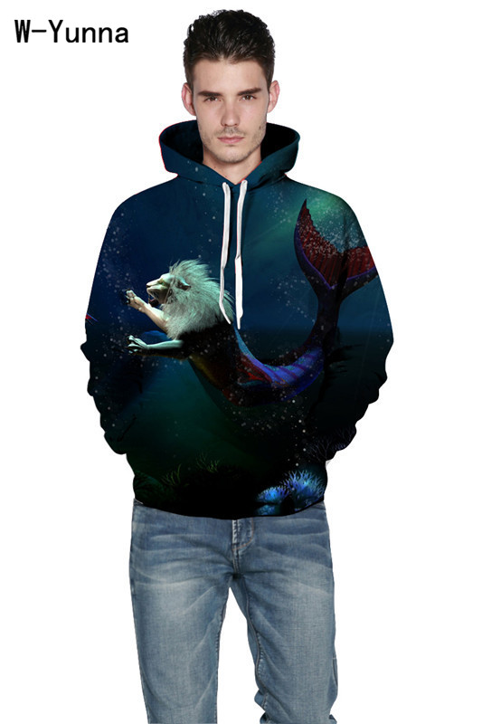 Initiative W-yunna Merlion Print Fashion Mens Hoodie 2019 Animal Stylish Full-sleeved Leisure Sweatshirts With Pocket Hip-hop Sudadera Available In Various Designs And Specifications For Your Selection Hoodies & Sweatshirts