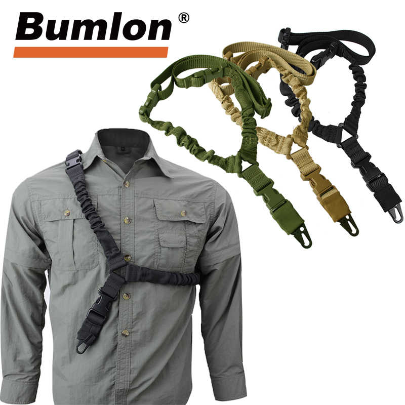 Verstelbare Tactical Gun Sling Riem Enkele Punt 1000D Zware Mount Bungee Militaire Rifle Sling Kit Airsoft Strap HT30-0001