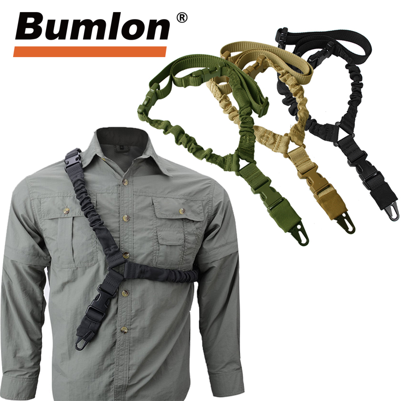 Adjustable Tactical Gun Sling Belt Single Point 1000D Heavy Duty Mount Bungee Military Rifle Sling Kit Airsoft Strap HT30-0001