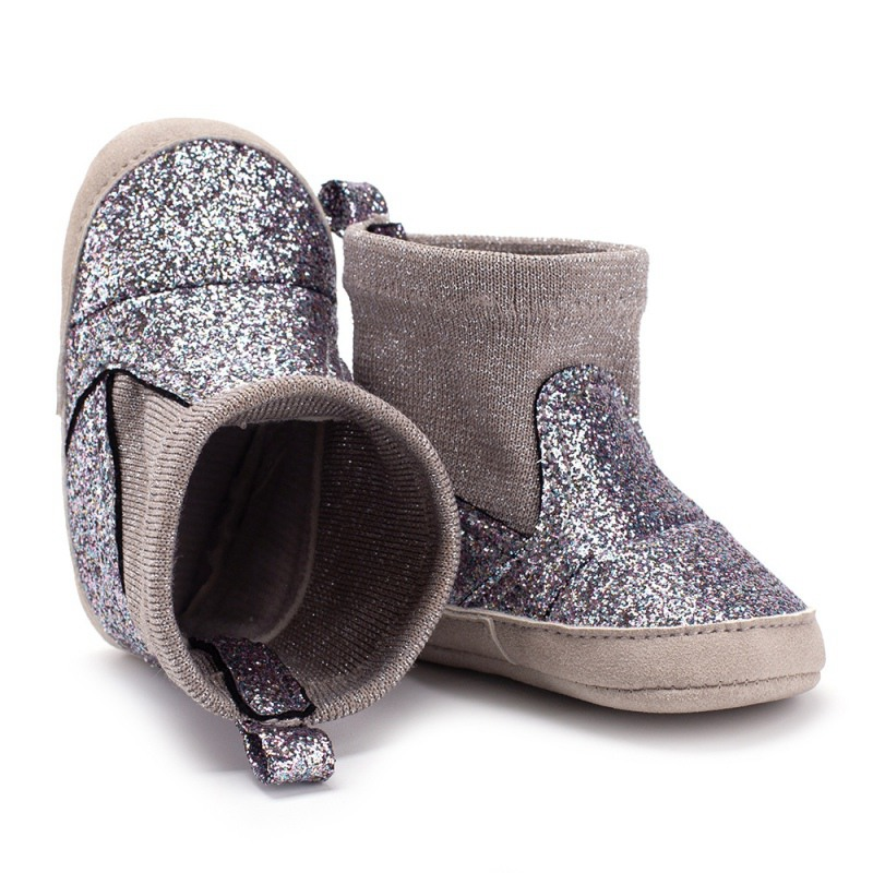 Autumn Baby Girl PU Leather Sequins Boots Casua Walkers Newborn Cute Non-slip Soft Soled Shoes