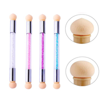 Double-ended nail art brush 1pc 4 Colors Rhinestone Handle Sponge Nail Brush for Ombre Nails Blooming Manicure Tools (4 Colors )