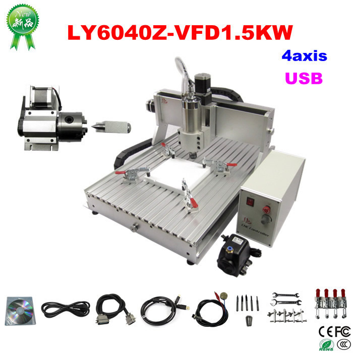NO tax to EU city! cnc router LY6040Z-VFD 4axis 1500W CNC drilling and milling machine with usb port for wood, metal carving cnc 5axis a aixs rotary axis t chuck type for cnc router cnc milling machine best quality