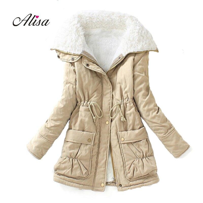 New 2018 Autumn Winter Wool Liner   Parkas   Mujer Women Slim Warm Medium Long Jacket Casacos Femininos Woman Black Coats Femme