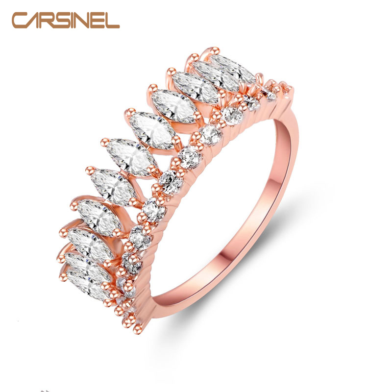 classic style high quality rose gold color zircon ring hypoallergenic copper prong setting zircon stone for women wedding - Hypoallergenic Wedding Rings