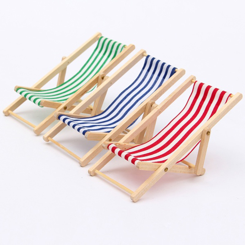 New DIY Dolls House 1:12 Miniature Foldable Wooden Craft Deckchair Lounge Beach  Chair Doll House Decal Accessory For Baby Girls In Dolls Accessories From  ...