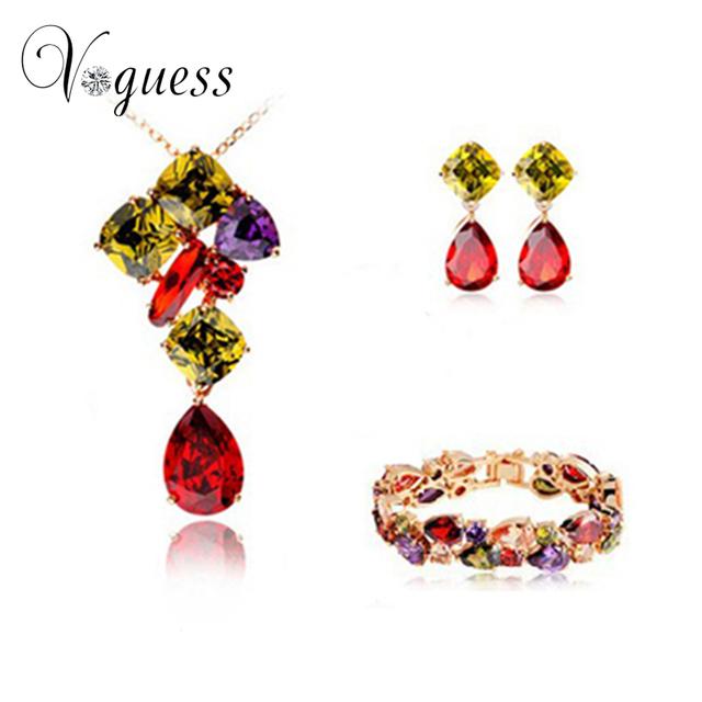 Voguess romântico conjuntos de jóias mona lisa multicolor aaa cz colar de casamento brincos pulseira conjunto de jóias de noiva frete grátis