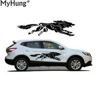 New For Nissan Qashqai Car Styling A Howling Wolf Creative Car Stickers PVC Large Wild Animal Decals Black And White 2 Color
