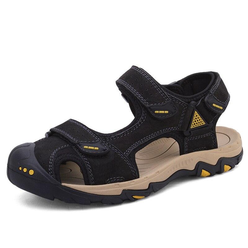 Hommes gladiateur sandales hommes chaussures sandales d'été en cuir véritable Crocse-chaussures Sandalias Hombre Sandles tongs pantoufles plage