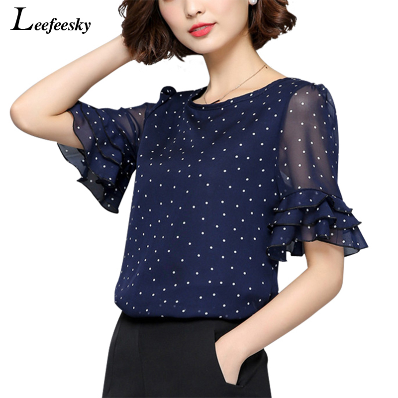 XXXXXL Women Blouses 2018 Summer Short Sleeve Chiffon Blouse Shirt Polka Dot Women Shirts Plus size Women Clothing Ladies Tops