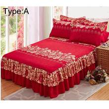New 150x200cm Sanding Bedspread Queen Bed Cover Thickened Fitted Sheet Single Double Bed Dust Ruffle(China)