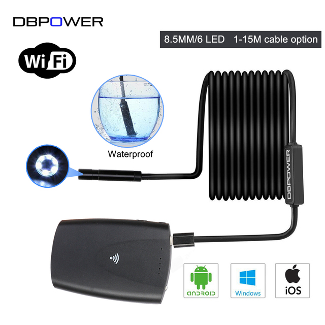 DBPOWER 8.5MM Wifi Endoscope USB Borescope 1 15M Hard/Soft Wire with ...