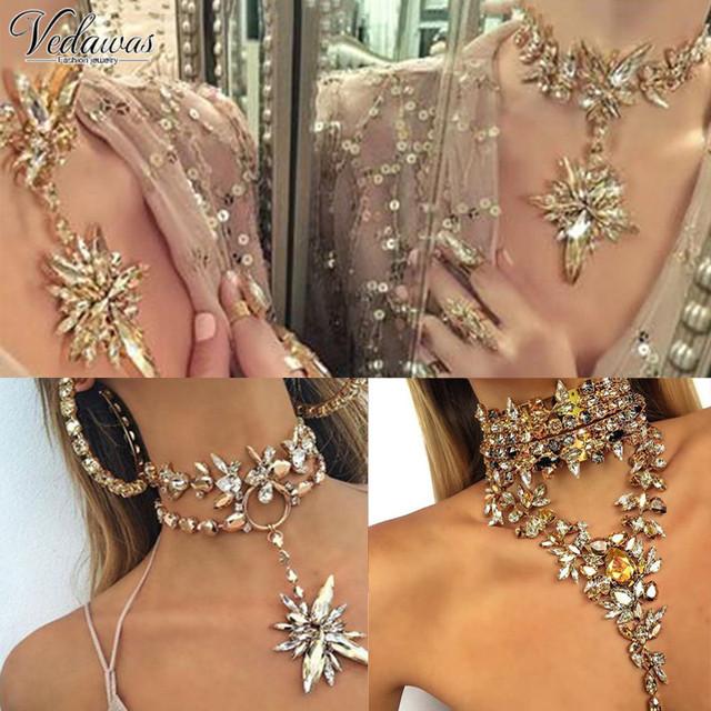 Vedawas Trend Chunky Maxi Colar Choker Statement Necklace Women Elegant Wedding Jewelry Triangle Crystal NecklacesPendants 1274