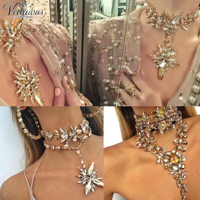 Prix pour Vedawas tendance chunky maxi colar choker déclaration collier femmes élégant bijoux de mariage triangle cristal colliers et pendentifs 1274