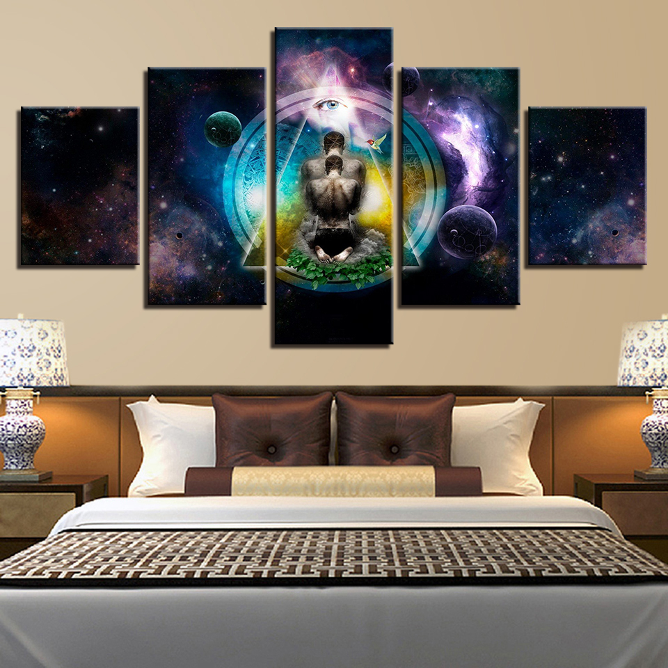 Us 9 0 5 Pieces Canvas Paintings Om Yoga Symbol Poster Buddha Buddhism Meditation Spiritual Home Decor Framed Wall Art Wd 1179 In Painting