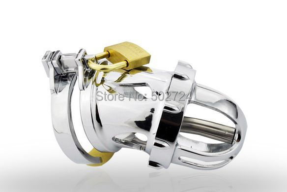 Adult Games Stainless Steel Male Chastity Device With Urethral Catheter Cock Cage Penis Ring Cage For Men