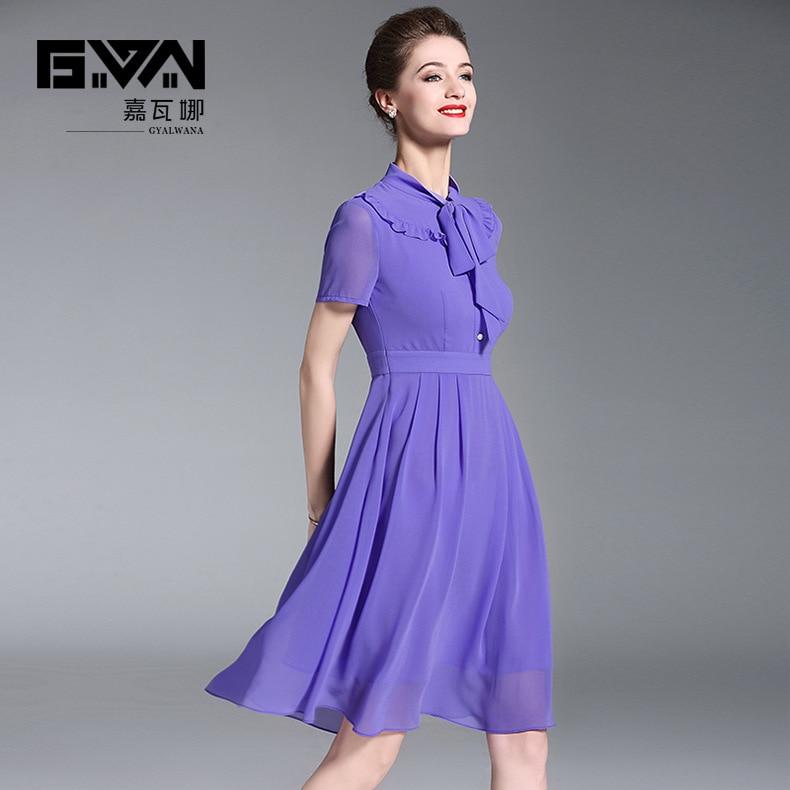 Robe en mousseline à manches courtes été 2018 nouveau col montant violet a-ligne robes élégantes pour les femmes
