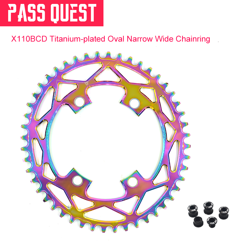 2019New 42-52T BCD110 Titanium-plated Oval Road Bike Narrow Wide Chainring FOR R2000 R3000 4700 5800 6800 DA9000