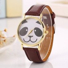 купить Ladies Watch Fashion Cute Panda Bears Pattern Quartz Women Wrist Watch Gold Dial Color Leather Strap Dress Feminino reloj mujer по цене 189.41 рублей