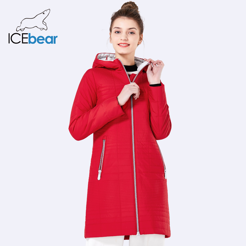 ICEbear Spring Autumn Long Cotton Women's Coats With Hood Fashion Ladies Padded Jacket Parkas For Women 17G292D