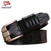 DINISITON Grid Man Belt Cowhide Genuine Leather Belts Luxury Strap Male Belt For Men New Fashion