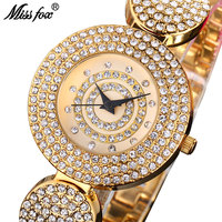 MISSFOX Miss Fox Luxury Ladies Watches Gold Bracelet Quartz Watch Women 2018 Fashion Silver Female Watch Water Resistant Clock