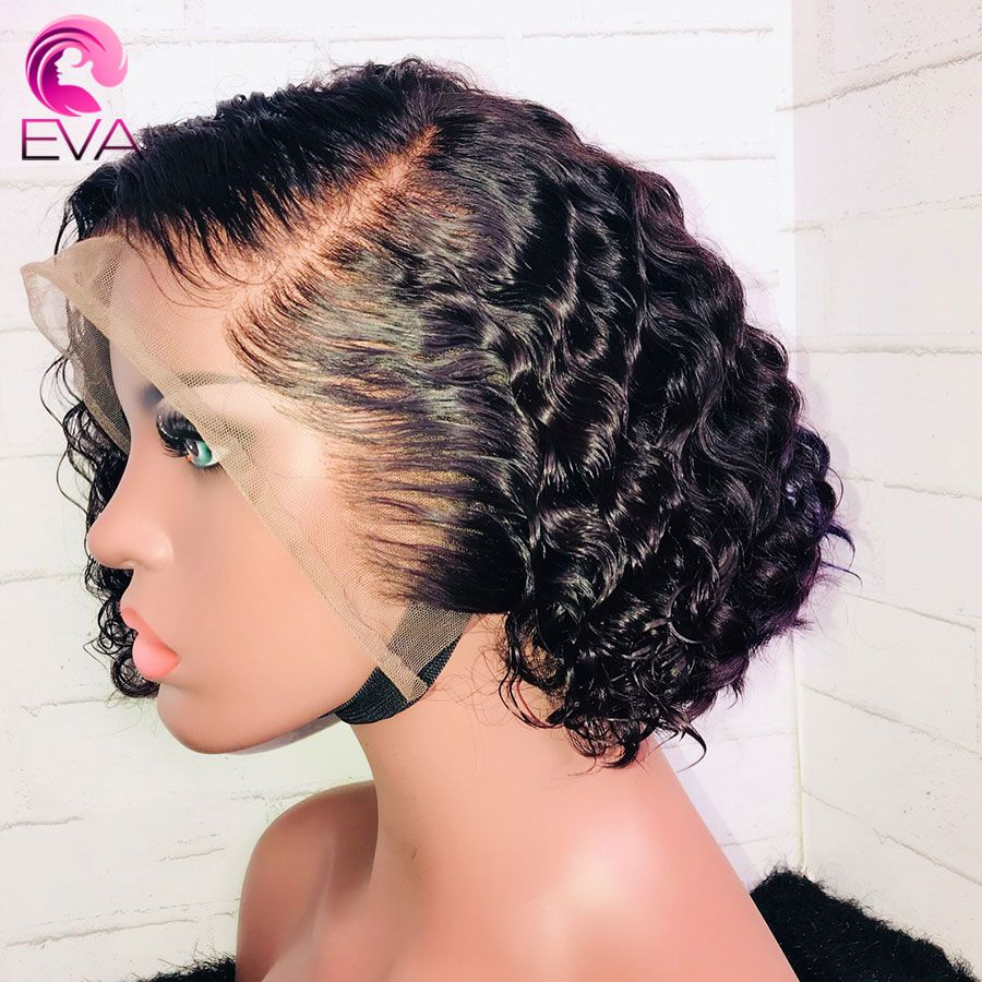 Wigs Full-Lace Hair Hair-Glueless Curly Baby Black-Women Eva with Brazilian Short Bob