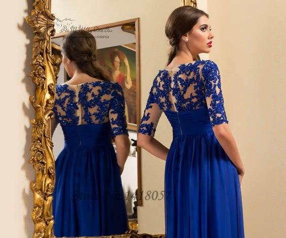 Royal Blue maternité robes de soirée Empire demi manches dentelle formelle femmes robes longue en mousseline de soie Robe de bal Applique Robe de soirée - 4