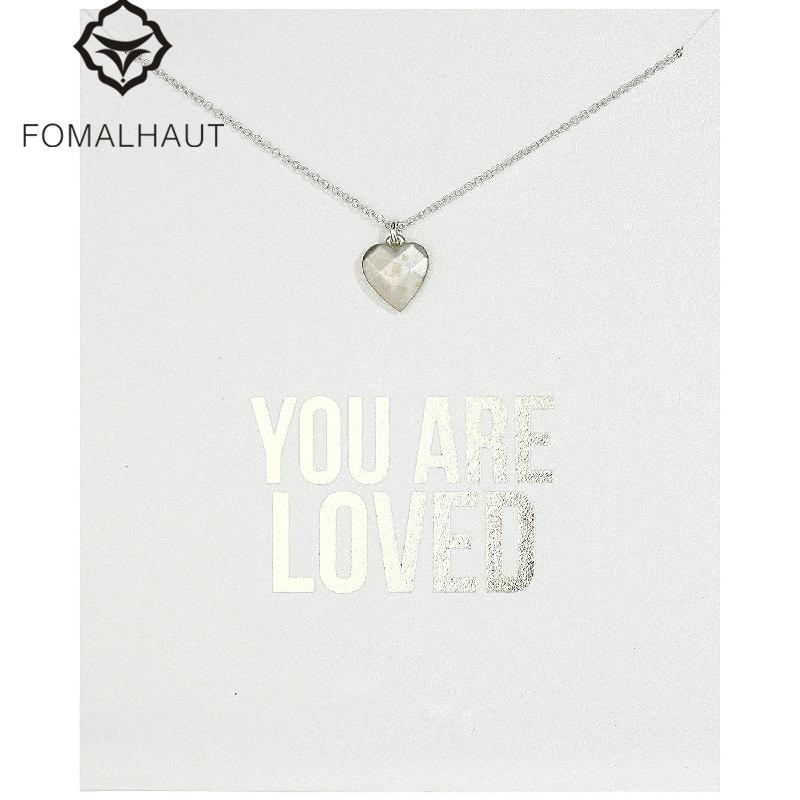 Hot Sale Sparkling Heart make a wish plated Pendant necklace Clavicle Chains Necklaces Women FOMALHAUT Jewelry