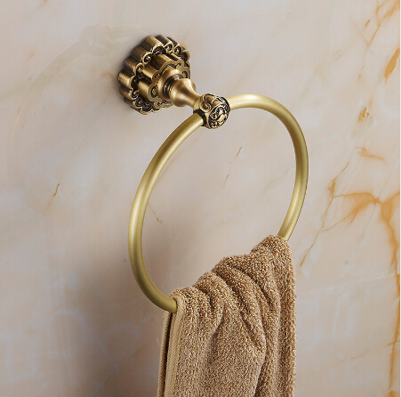 Wholesale And Retail Carving Antique Brass Towel Holder Wall Mounted Towel Ring Unique Design Bathroom Bath Towel Rack aluminum wall mounted square antique brass bath towel rack active bathroom towel holder double towel shelf bathroom accessories
