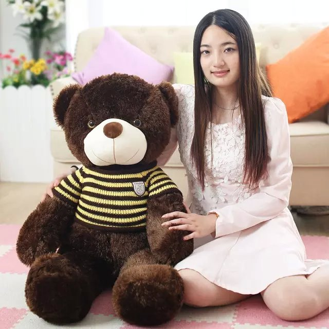 large 100cm brown bear plush toy yellow stripes sweater teddy bear throw pillow birthday gift h989 usa flag teddy bear plush toy brown bear doll large 75cm soft throw pillow valentine s day present birthday gift w5462
