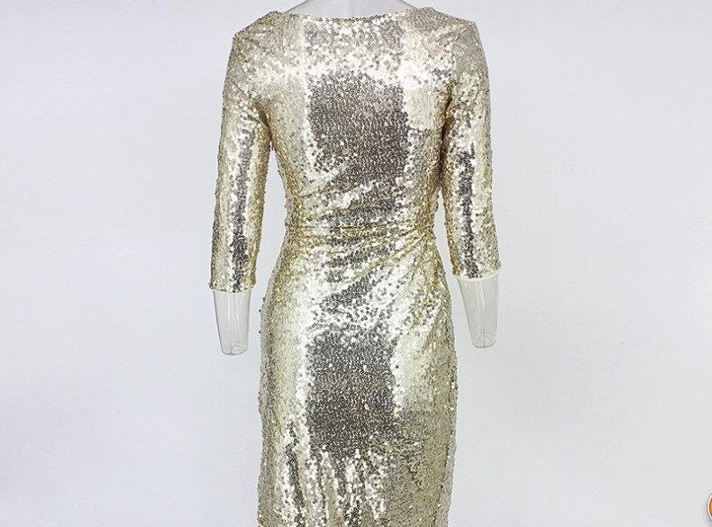 Vestido de lentejuelas doradas mujer cuello en V profundo alto Split Delgado Hip club nocturno fiesta lentejuelas vestido señora una pieza vestidos - 4