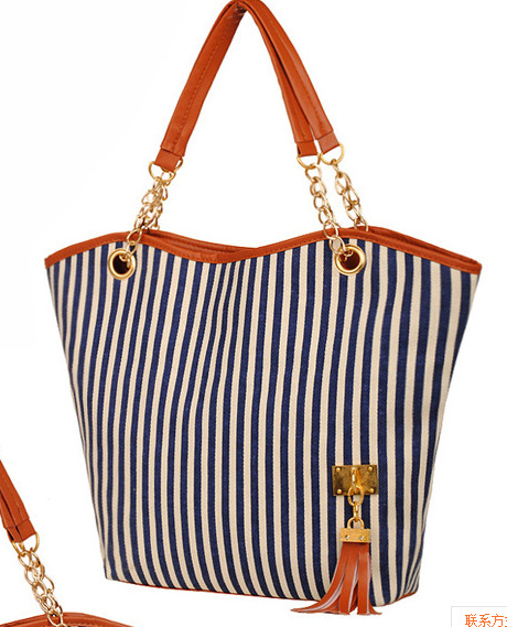 HD New Women Shoulder Bag Girl Stripe Tassels Chain Shopping Canvas Handbag Large Tote Bag Exquisite Gift Lady High Quality 2016 hot style horizontal women leisure canvas stripe handbag mix single shoulder bag handbag chain wave packet