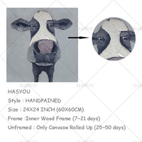 Handmade Cow Painting On Canvas Wall Art Home Decor Framed Oil Painting Gift Store Wall Pictures For Living Room