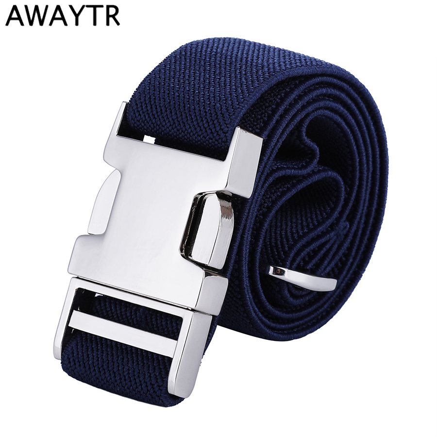 AWAYTR New High Quality Canvas   Belt   For Kids Alloy Automatic Buckle   Belt   for Men Adjustable Elastic Children's   Belts   66*2.5cm