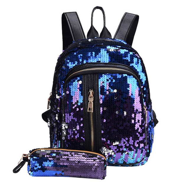 2f9ea9d3d0 2018 NEW Backpack female Fashion Girl Sequins School Bag Backpack Travel  Shoulder Bag+Clutch drop shipping A0611 30