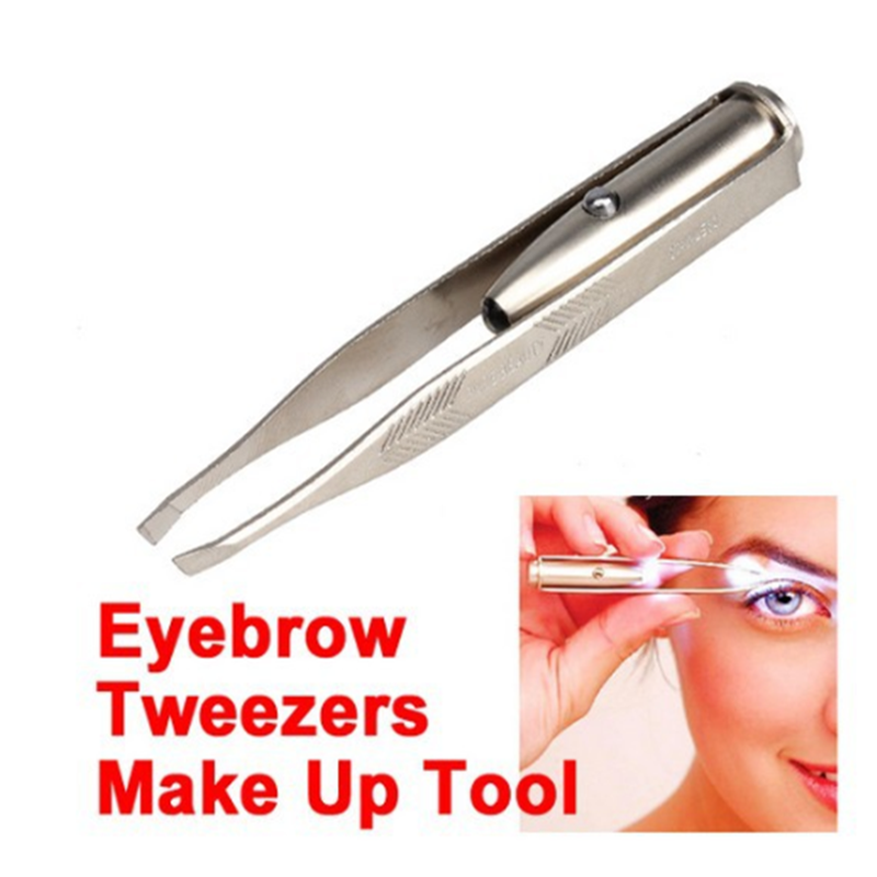 1pc LED Tweezer+3 Batteries Eyelash Eyebrow Eyes Hair Remover Tools Stainless Steel Eyebrow Tweezers Pinzette Beauty Makeup Set 1
