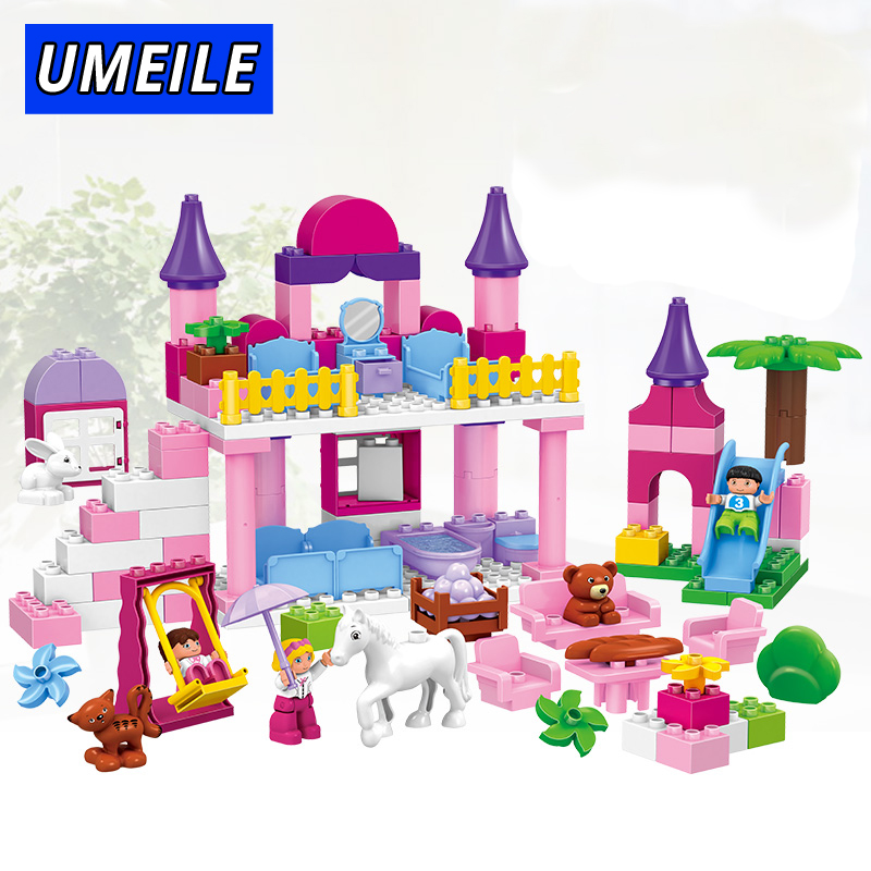 UMEILE Brand Duplo Building Block City Castle Pink Girl Princess Park 117Pcs Brick Toys For Baby Kids Birthday Present Gift oenux happy princess angel castle model large particles building block kids diy brick toy for girl s gift compatible with duplo