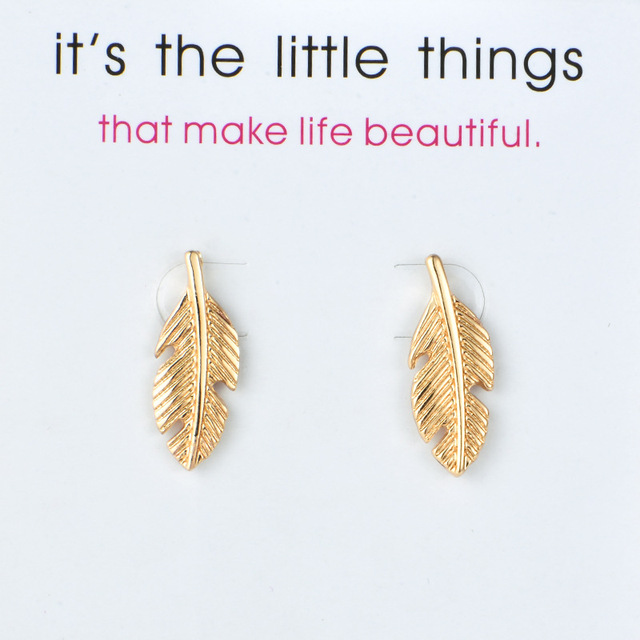 Feathers stud earrings New Arrival Fashion Jewelry Leaves Light As A Feather Stud Earrings For  Women Brincos