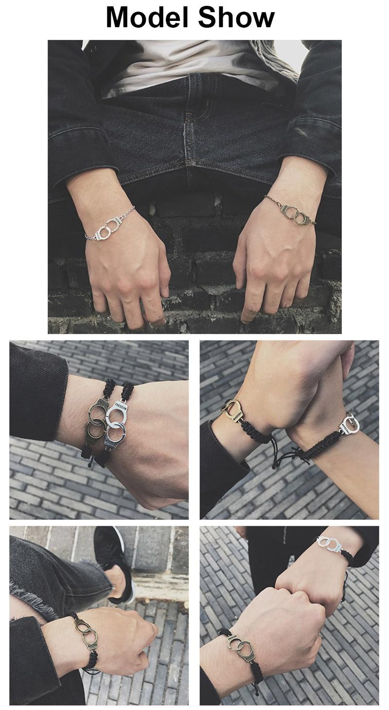 Adjustable Vintage Handmade Bracelet Men Jewelry Handcuffs Charm Bracelet for Women Accessories Friendship Girl Couple Bracelets 2