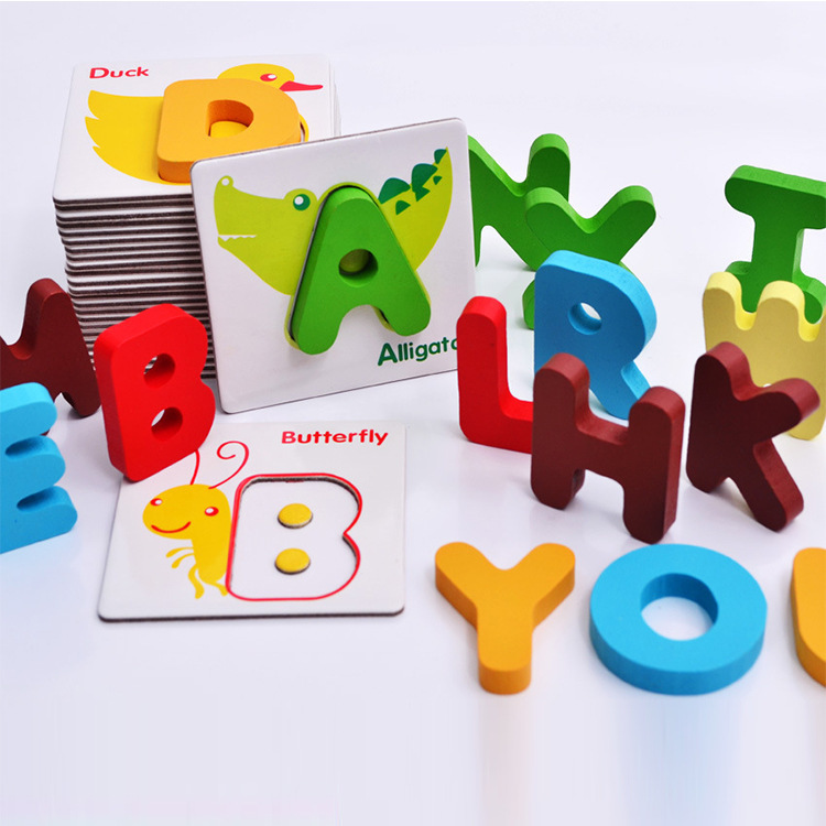 Baby Educational Cards English Learning Games Letter Flash Cards For Children Wooden Kids Cards Book