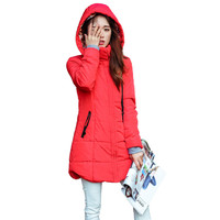 Autumn Winter Jacket Women Thick Hooded Cotton Padded Jacket Plus Size Candy Color Slim Down Cotton