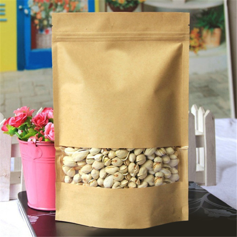 10pcs/Set <font><b>12x20</b></font> Thick Brown Kraft Paper Bags Saran Wrap for Tea Snack Gift Storage Zip Lock Sealable Foil Pouch with Window image