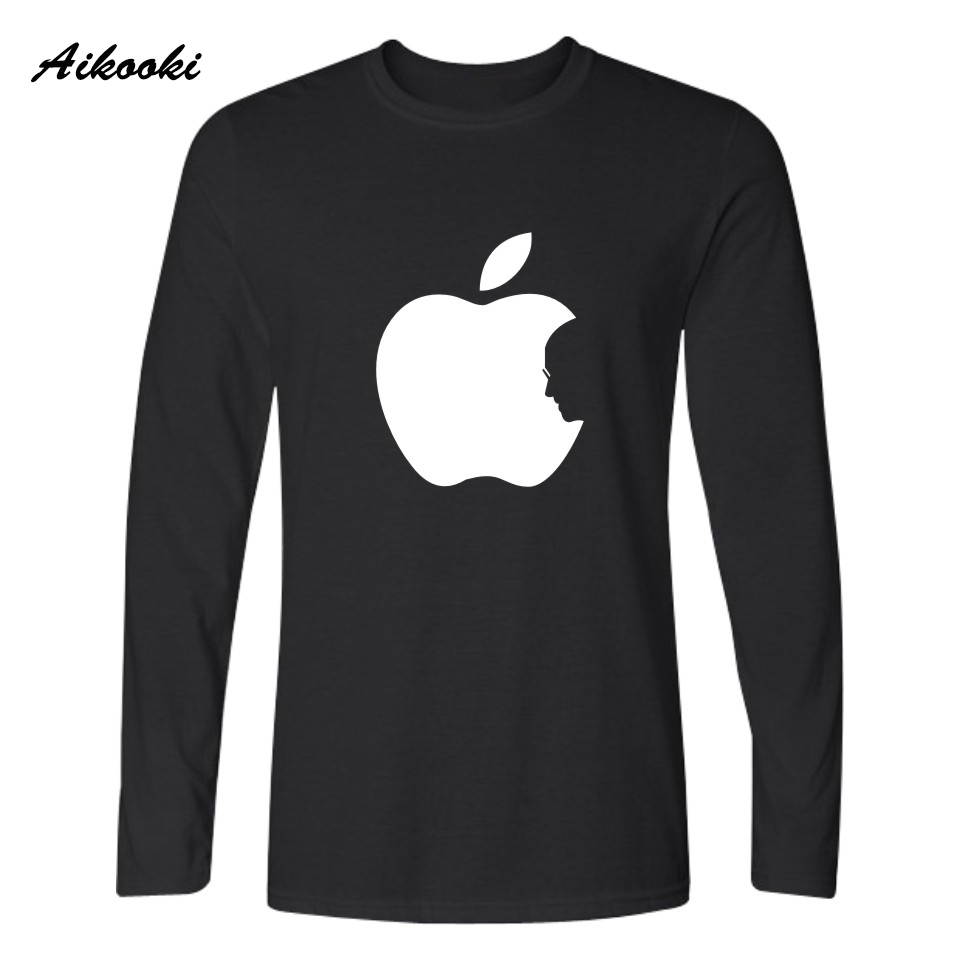 Couple t shirt design white - Steve Jobs Apple Design Funny Printed T Shirt Men Long Sleeve T Shirts Young People Couples Hip Hop Soft Cotton Tees Xxs Xxxxl