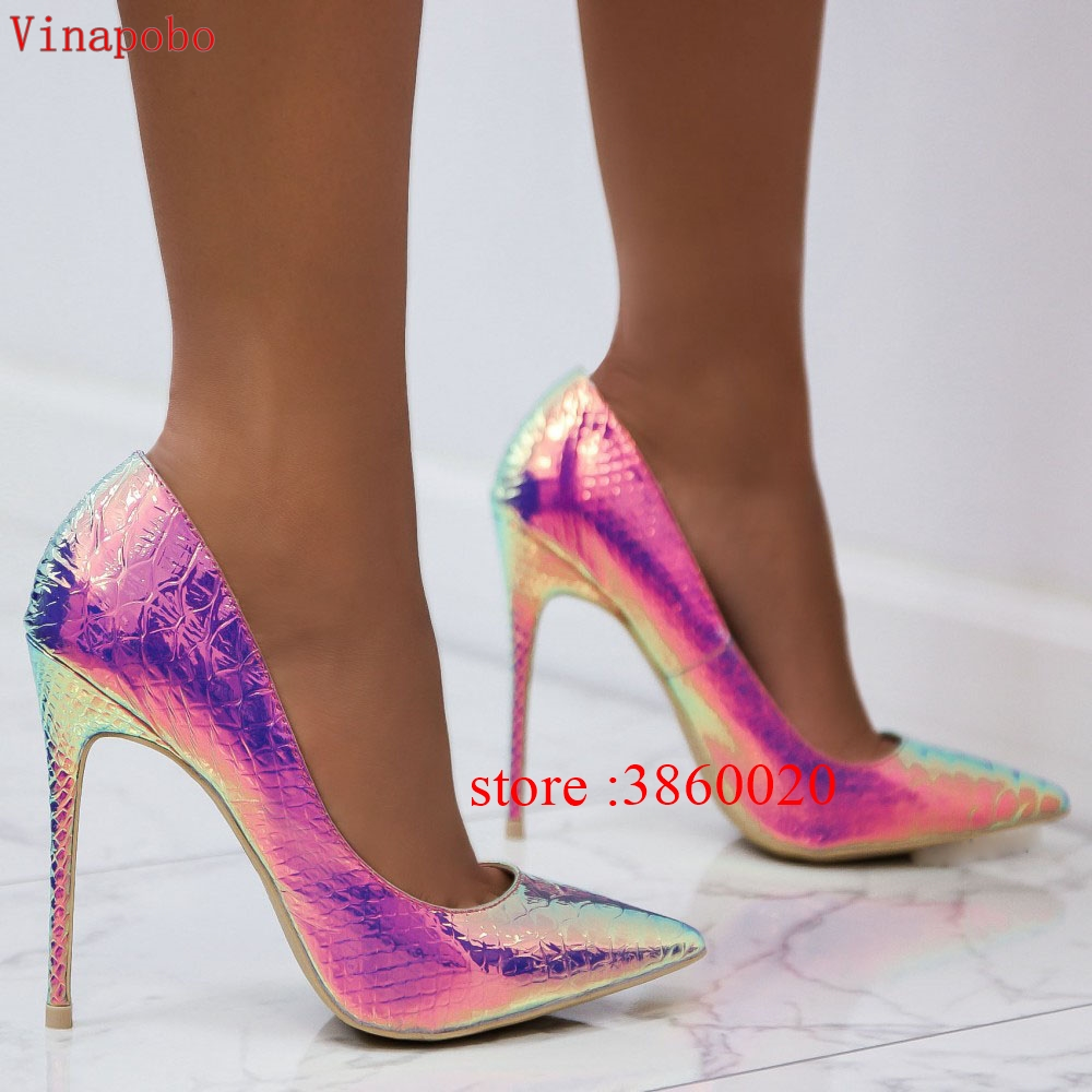 Vinapobo Green Snake Pattern Colorful Print High Heel Women Pumps Pointed Toe Stiletto Heel Sexy Lady Wedding Shoes Size 34-43