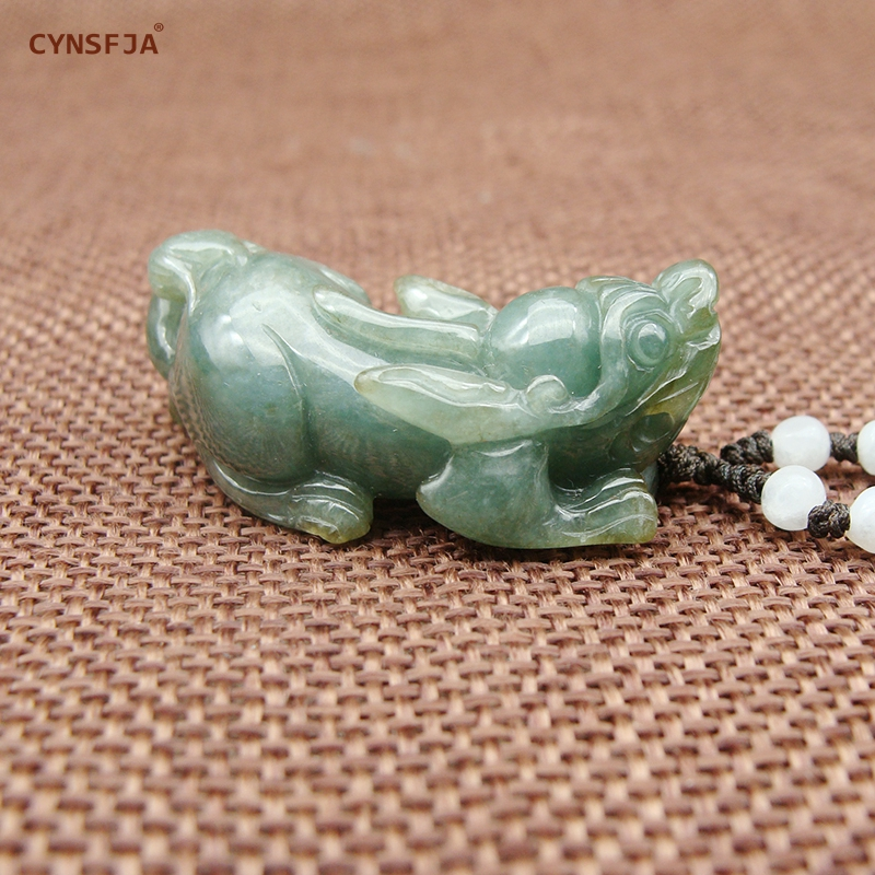 CYNSFJA Real Rear Certified Natural Grade A Burmese Jadeite Men 39 s Amulets Pixiu Jade Pendant High Quality Carved Fine Jewelry in Charms from Jewelry amp Accessories