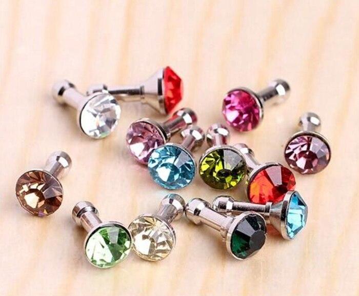bilder für 100 Stücke Großhandel Handy Staubstecker Kristall Diamant Staubdicht Anti Staub Stecker Für 3,5 Mm Kopfhörer Jack Stecker zubehör